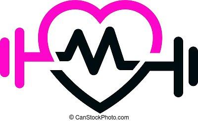 Liebe passt zu Puls-Logo-Vektor, Buchstabe M.