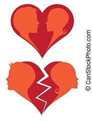 Liebe und gebrochenes Herz, Vektor