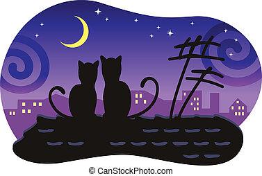 Liebende Katzen sitzen auf dem Dach des Hauses und schauen auf den Mond.