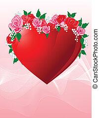 Liebes Herz mit Rosen