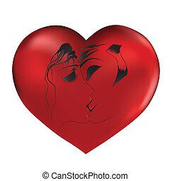 Liebes Paar auf rotem Herzen