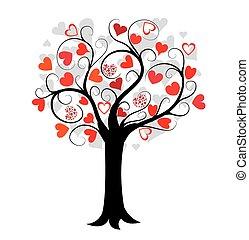 Liebesbaum mit roten Herzen.