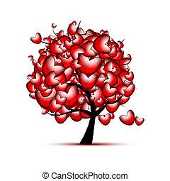 Liebesbaumdesign mit roten Herzen für den Valentinstag