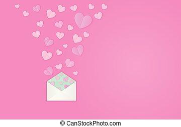 liebesfarbe, symbole, papier, design., rosa, pastell, schnitt, raum, mutter, hintergrund., tag, heraus, glücklich, briefkuvert, abbildung, kopie, valentines, vektor, birthday., herzen, frauen