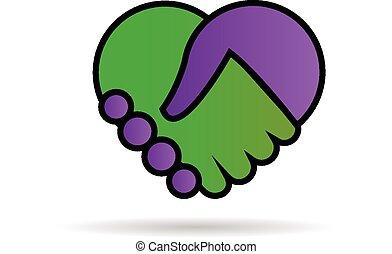 Liebesherz-Hände schütteln das Logo.