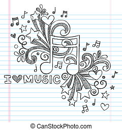 Liebesmusik, zwielichtige Vektor-Doodles