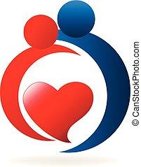 Liebespaar, Valentins-Logo-Icon-Vektor.