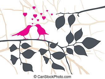 Liebesvögel auf einem Baum - Vektor