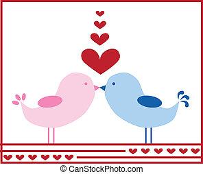 Liebesvögel küssen sich
