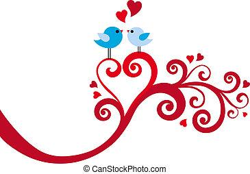 Liebesvögel mit Herzwirbel, Vektor.