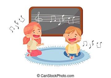 lied, singende, sitzen, boden, vektor, lustiges, abbildung, kleinkinder, kindergarden