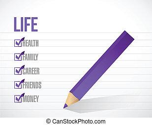 Life Check Mark List Illustration Design