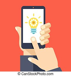 Lightbulb auf Smartphone-Screen