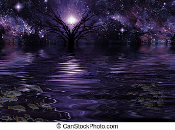 lila, fantasie, tief, landschaftsbild