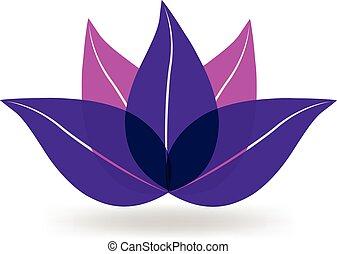 lila, lotos, logo