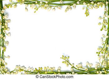 Lily des Tals Blumen auf dem Papierrahmen, isolierter horizontaler Hintergrund