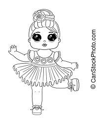 Line Art Baby Puppen Charakter. Hübsche Babypuppe, isoliert auf weißem Hintergrund. Perfekt für Stoff oder Kinderzimmer.