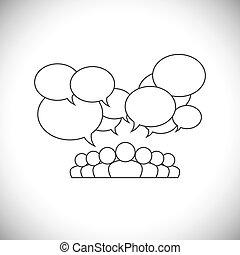 Line Design Vektor - soziale Medienkommunikation mit Menschen