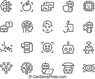 Line künstliche Intelligenz Icons