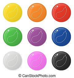 Line Style Aubergine Icons setzen 9 Farben isoliert auf weiß. Sammlung von glänzenden runden bunten Knöpfen. Vector Illustration für jedes Design.