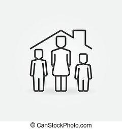 linear, ikone, frau, unter, vektor, haus, dach, childs, zwei