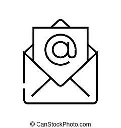 linear, zeichen, e-mail, grobdarstellung, linie, ikone, abbildung, symbol., vektor, begriff