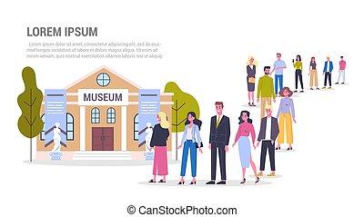 linie., langer, stehende , crowd, museum., warteschlange, leute