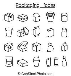 linie, paket, stil, satz, schlanke, ikone