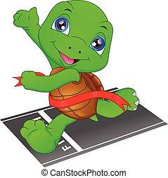 linie, schnell, turtle, gewinner, rennender , appretur, überfahrt