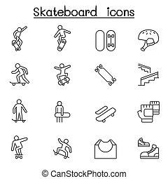 linie, skateboard, stil, satz, schlanke, ikone