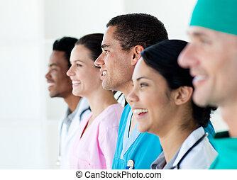 linie, stehende , mannschaft, multi-ethnisch, medizin