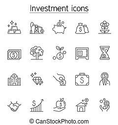 linie, stil, satz, schlanke, investition, ikone