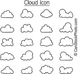 linie, stil, satz, wolke, schlanke, ikone