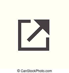 linie, verbindung, kasten, -, pfeil, extern, ikone