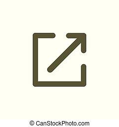 linie, verbindung, pfeil, kasten, ikone, -, extern