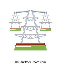linien, elektrische energie, macht, masten