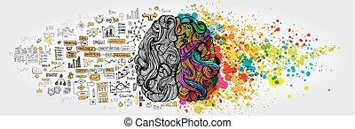 Linkes menschliches Gehirnkonzept. Kreative Teil und Logik Teil mit sozialen und geschäftlichen Doodle