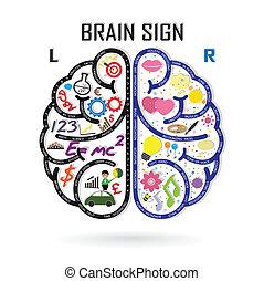 Linkes und rechtes Gehirnsymbol, Kreativitätszeichen, Business Symbol, Wissen und Bildung Icon