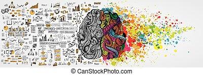 Linkes und rechtes menschliches Gehirn mit sozialer Infographie auf logischer Seite. Kreative Hälfte und Logik halb Mensch. Vector Illustration über soziale Kommunikation und Geschäftstätigkeit