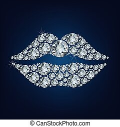 Lippen bilden eine Menge Diamanten auf dem schwarzen Hintergrund.