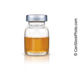 liquid., medizinische abbildung, flasche, verhöhnen, weißes, auf, hintergrund., vektor, glas, freigestellt, brauner