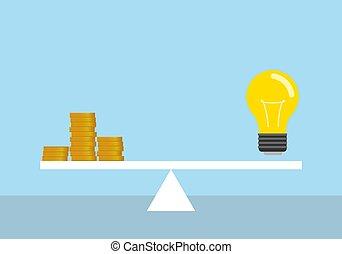 lit, concept., scale., licht, elektrizität, geld, zwiebel, preis