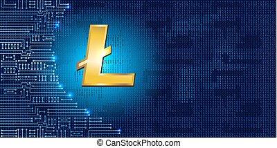 Litecoin auf Binärcode Hintergrund und elektronischer Schaltkreis