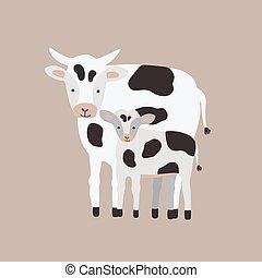 livestock., reizend, familie, inländisch, freigestellt, vieh, lustiges, kindisch, pflanzenfressend, hintergrund., weißes kalb, baby., wohnung, elternteil, tiere, kind, karikatur, illustration., kuh, vektor, mutter, oder