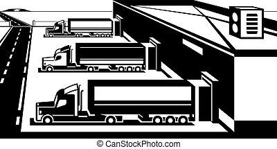 LKWs, die Waren im Lager laden.