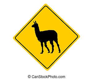 Llama-Warnzeichen.