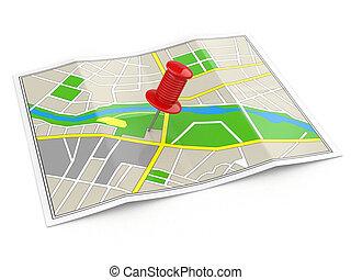 location., landkarte, concept., gps, thumbtack.