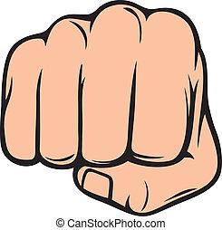 lochung, punching), (human, faust, hand