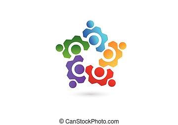 logo, ausrüstung, geschaeftswelt, fünf leute, mannschaft