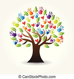Logo Baum Hände und Herzen Vektor Icon.